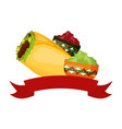 burrito and sauces vector image vector image