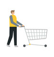 business man pushing an empty cart vector image vector image