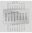 calendar month for 2016 pages November start vector image vector image
