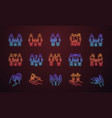 child custody neon light icons set vector image