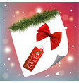 christmas sale tag red with snow background vector image