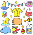 collection of baby style set doodles vector image vector image