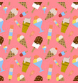 colorful melting ice-cream seamless pattern on vector image