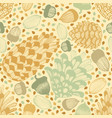 colorful seamless background with cones and acorns vector image