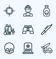 combat icons line style set with soldier vector image vector image