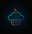 cup cake with cherry icon cupcake outline vector image