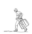 drawing young skiny man carrying big heavy bag