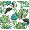 exotic bird tropical jungle seamless white vector image vector image