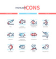 fish species - modern line design style icons set vector image