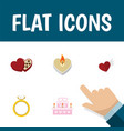 flat icon heart set of wings engagement fire wax vector image vector image