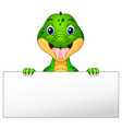 funny crocodile cartoon holding blank sign vector image vector image