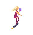 girl flying with jet skateboard technology of the vector image