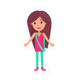 girl with long thick hair isolated vector image