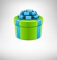 green gift box with blue bow vector image vector image