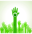 Green helping hand with green apple vector image vector image