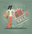 group of women in shopping day style retro vector image vector image