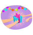 hands giving gift box to another hand vector image vector image