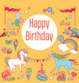 happy birthday holiday card with rainbow ice vector image vector image