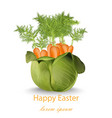 happy easter card with carrots bouquet vector image vector image
