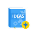 ideas book with lightbulb flat icon online vector image vector image