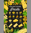 italian cuisine menu traditional pasta vector image vector image