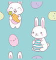 kawaii easter seamless pattern with a cute bunny vector image