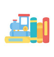 kids toys train on books cartoon isolated icon vector image