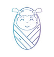 line cute baby girl with blanket and hairstyle vector image vector image