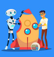 man and robot are building a rocket together vector image vector image