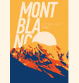 montblanc in alps france italy outdoor adventure vector image