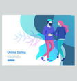 online dating concept app login page with funny vector image