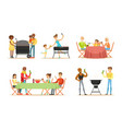 people grill and eat barbecue vector image vector image