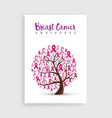 pink ribbon tree for breast cancer awareness vector image vector image