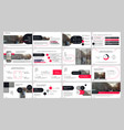 presentation template red and black elements for vector image vector image
