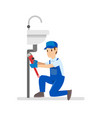 professional plumbers vector image vector image
