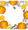 pumpkin leaves foliage frame pattern vector image