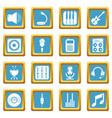 recording studio symbols icons set sapphirine vector image vector image
