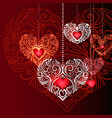 red decorative jewelry hearts background vector image vector image