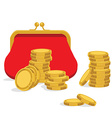Red purse and coins vector image vector image