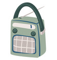retro radio with antenna and buttons player vector image