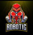 robotic esport mascot logo design vector image vector image