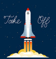 rocket launched into the sky space flight vector image