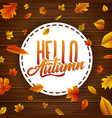 round label with falling leaves on wooden backgrou vector image vector image