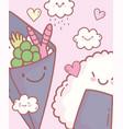 salad and rice sushi cartoon food cute vector image vector image