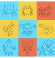 Seafood flat line icons set vector image vector image