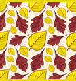 seamless pattern with hawthorn and linden leaves vector image vector image