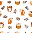 seamless texture with cute cartoon owls vector image vector image