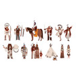 set indians in traditional costumes native vector image vector image