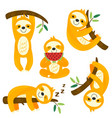 set isolated funny sloths vector image vector image