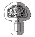 sticker with cloud service with apps set and vector image